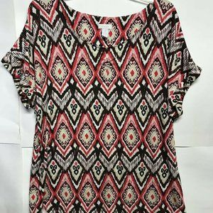 Chico's 2 Blouse Multicolor Tribal Geometric top